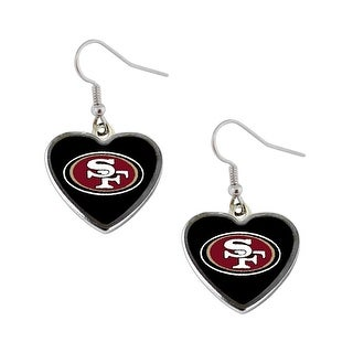 NFL SAN Francisco 49ers Heart Dangle Logo Earring Set Charm Gift