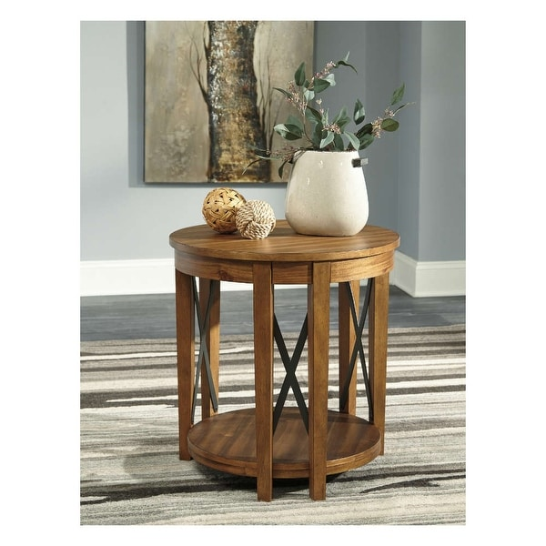 Awesome Emilander Round End Table Light Brown Round End Table Home Interior And Landscaping Ologienasavecom