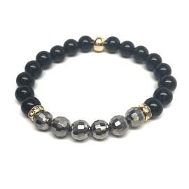 Black Crystal 'Glow' stretch bracelet 14k Over Sterling Silver
