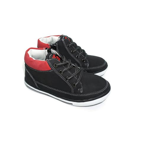 Pipiolo Boys Black High Top Lateral Zipper Casual Sneakers