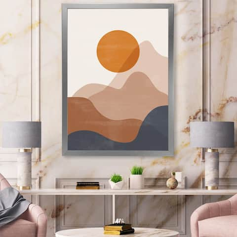 Designart 'Abstract Red Moon In Earth Toned Mountains II' Modern Framed Art Print