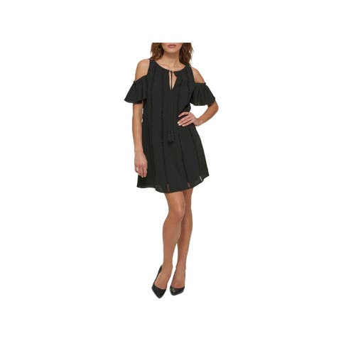 Jessica Simpson Womens Party Dress Cold-Shoulder Mini
