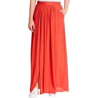 Pure DKNY Womens Petites Maxi Skirt Front Slit Pleated