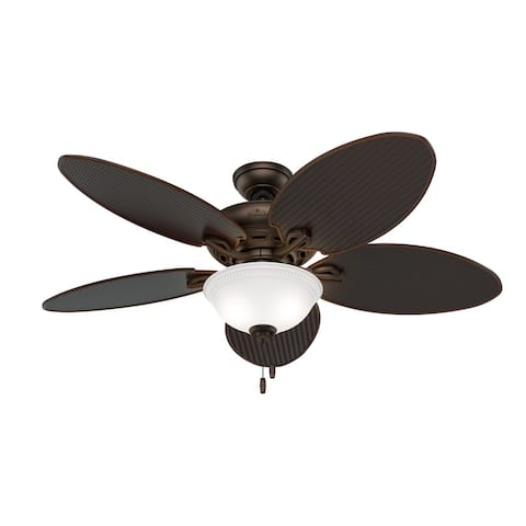 "Hunter 52"" Brendan Damp Ceiling Fan with LED Light Kit and Pull Chain - Brushed Cocoa - Brushed Cocoa"