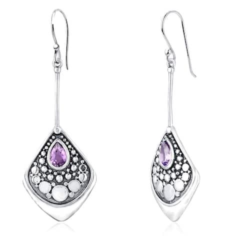 Amethyst,Citrine, Garnet Sterling Silver Pear Dangle Earrings by Orchid Jewelry