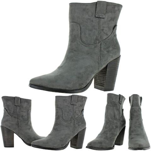 Very G Women's Rosie Faux Suede Western Stacked Block Heel Ankle Bootie - Grey