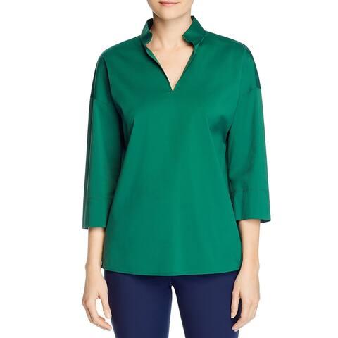 Lafayette 148 New York Womens Blouse Solid Office Wear - Emerald Green