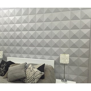 3D Plant Fiber Diamond Design Wall Panels (Set of 10)