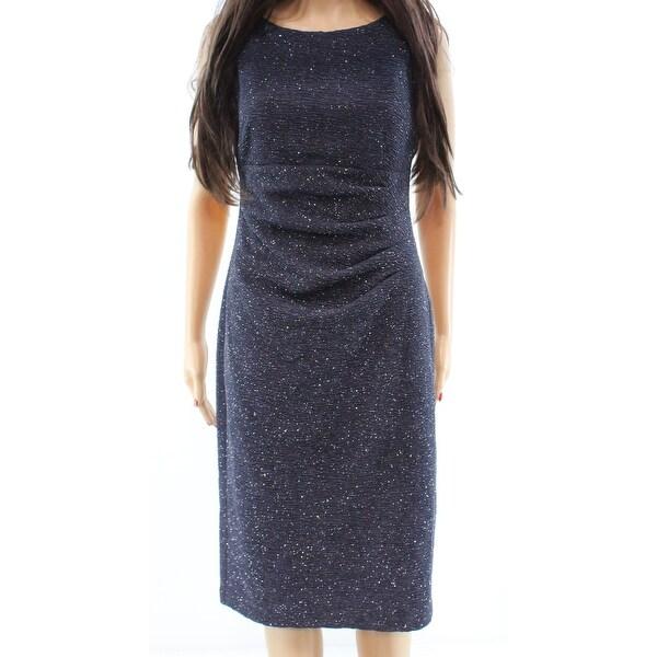 bb4ce7c4 Eliza J NEW Dark Gray Glitter Gathered Women's Size 6 Sheath Dress
