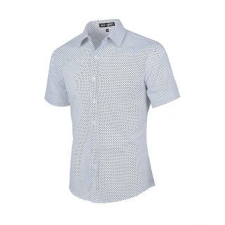 Unique Bargains Men's Button Up Short Sleeves Cotton Polka Dots Shirt