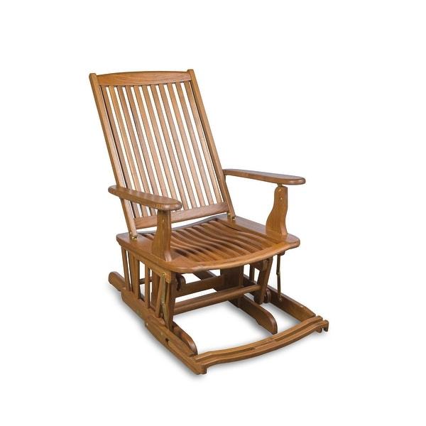 "Teak Glider Chair - 24"" W x 40"" H x 31"" D. Opens flyout."