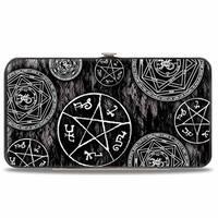 Supernatural Devil's Trap Pentagrams Grays Black White Hinged Wallet - One Size Fits most