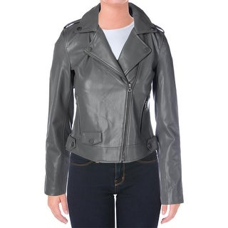 Lucky Brand Womens Motorcycle Jacket Faux Leather Bonded