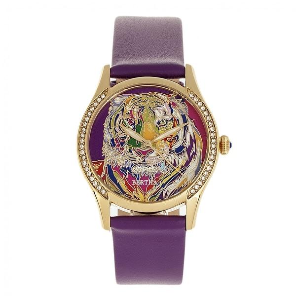 Bertha Annabelle Leather-Band Watch - Purple