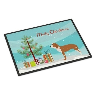 Carolines Treasures BB2909MAT Spanish Hound Merry Christmas Tree Indoor or Outdoor Mat 18x27