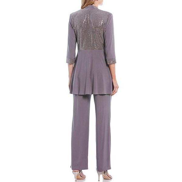 R/&M Richards Womens Plus Size Womans Mock Top Lace Pant Set