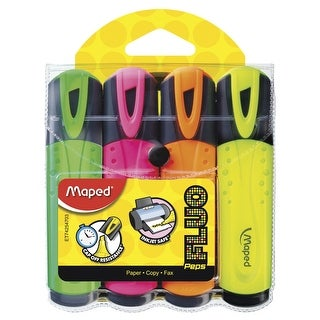 Maped Classic Fluorescent Highlighter, Assorted Colors, Set of 4
