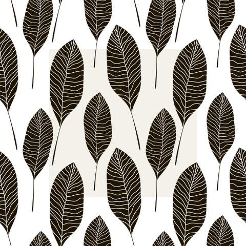 Brunial Black Leaves Removable Wallpaper - 24'' inch x 10'ft