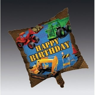 """Club Pack of 12 Under Construction """"Happy Birthday"""" Metallic Party Balloons 18"""""""