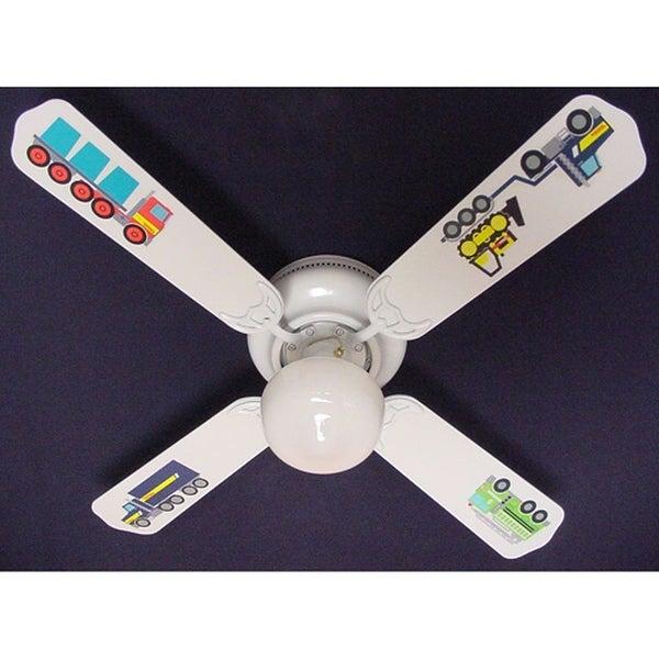 Tonka Big Rig Trucks Print Blades 42In Ceiling Fan Light Kit - Multi