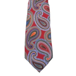 Geoffrey Beene NEW Red Bright Mens One Size Paisley Neck Tie Silk