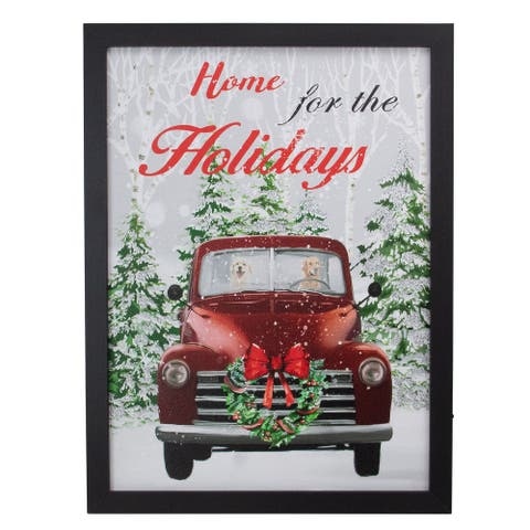 "15.75"" Black Frame Red Vintage Truck LED Lighting Christmas Wall Canvas"