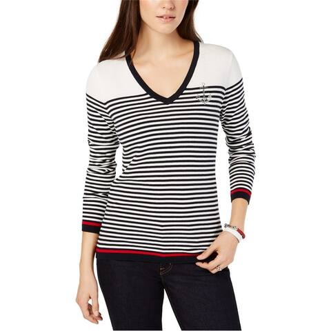 Tommy Hilfiger Womens Embellished Anchor Pullover Sweater