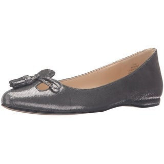 Nine West Womens Simily Leather Pointed Toe Slide Flats