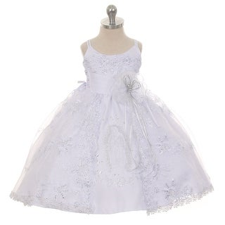 Rain Kids Baby Girls White Embroidered Organza Cape Bows Baptism Dress 6-24M