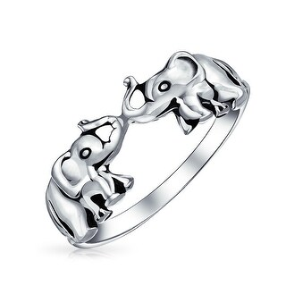 Bling Jewelry Antiqued Sterling Silver Lucky Double Elephants Animal Ring
