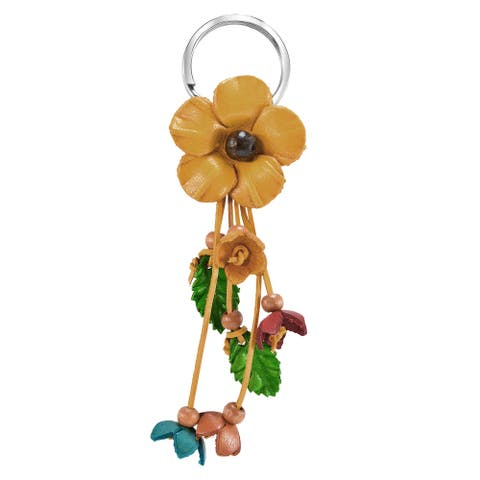 Handmade Striking Tropical Flower Pink Leather and Beads Bag Ornament Keychain (Thailand)