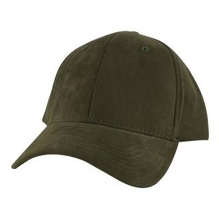 Suede Faux Mid Crown Curved Visor Velcro Adjustable Cap Hat - Olive Green - Dark Green