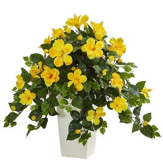 Nearly Natural Hibiscus Artificial Plant in White Tower Planter, Yellow