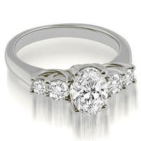 1.50 cttw. 14K White Gold Trellis Oval and Round cut Diamond Engagement Ring