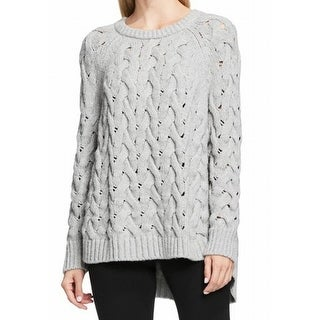 Vince Camuto NEW Gray Womens Large L Chunky Cable-Knit Crewneck Sweater