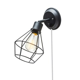 Globe Electric 65291 1 Light Wall Sconce with Black Metal Shade - Adjustable - Canopy On / Off Switch - ADA Compliant