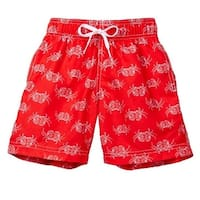 Azul Little Boys Red Crab Walk Drawstring Tie Lined Swimwear Shorts