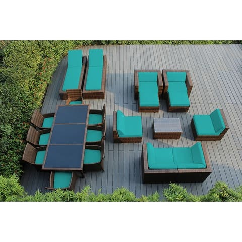 Ohana Outdoor Patio 20 Piece Mixed Brown Wicker Sofa and Dining Set