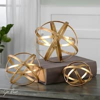 Set of 3 Iron Gold Leaf Sphere Decorative Table Top Decorations