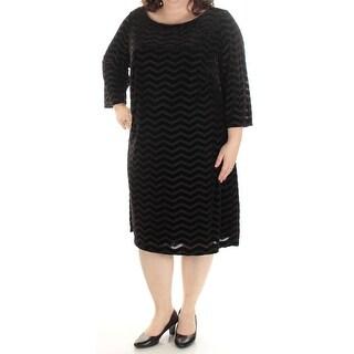 JESSICA HOWARD $99 New 1489 Black Chevron Velvet Long Sleeve Dress 18W Plus B+B