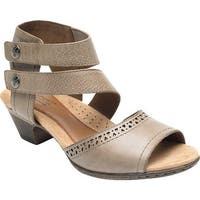Rockport Women's Cobb Hill Abbott 2 Piece Cuff Sandal Khaki Leather