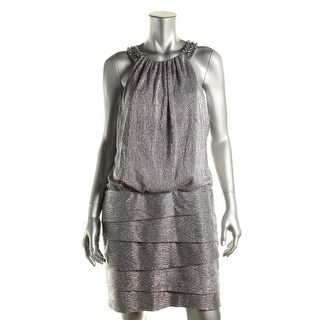 Laundry by Shelli Segal Womens Halter Foil Knit Cocktail Dress