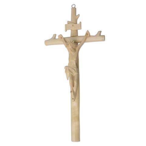 "Handmade Crucifixion Wood Wall Cross (Indonesia) - 15.75"" H x 7.25"" W x 2.9"" D"