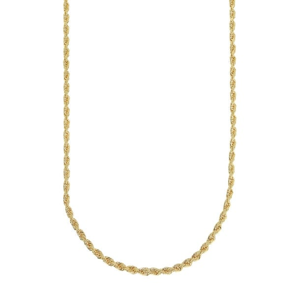 Mcs Jewelry Inc 14 KARAT YELLOW GOLD SOLID DIAMOND CUT ROPE CHAIN NECKLACE (2MM)