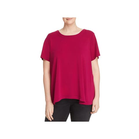 Cupio Womens Plus Pullover Top Cut-Out Drapey