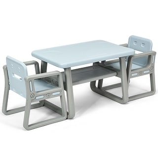 Gymax Kids Table and 2 Chairs Set Toddler Table w/ Storage Shelf For Baby Gift Blue