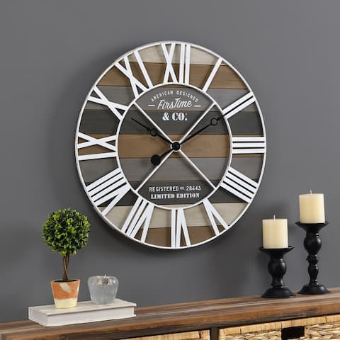 FirsTime & Co.® Gray Maritime Farmhouse Planks Clock, American Crafted, Gray, Wood, 24 x 2 x 24 in - 24 x 2 x 24 in