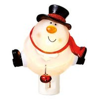 "5.25"" Bobble Head Snowman Holding a Jingle Bell Decorative Christmas Night Light"