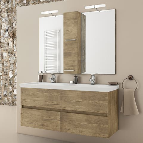 "48"" Natural Double Floating Vanity with His and Her Integrated Porcelain Sinks"