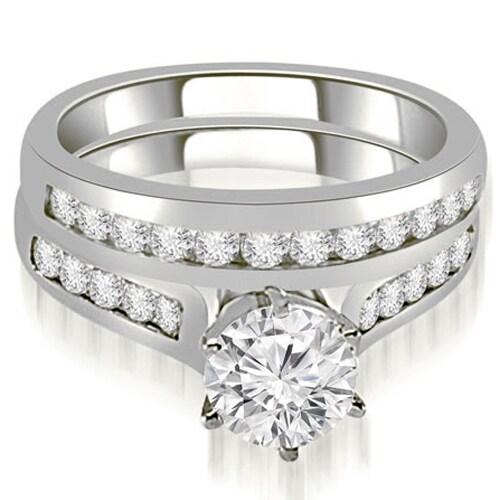 1.16 cttw. 14K White Gold Channel Set Round Cut Diamond Bridal Set